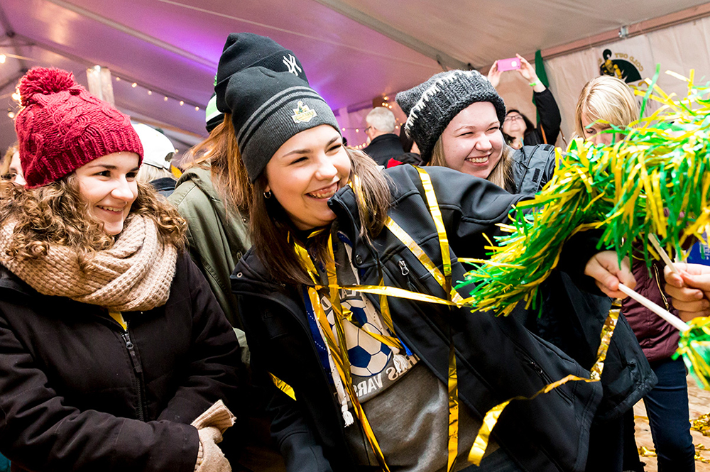 Students celebrating at the Cold Out Gold Out Event