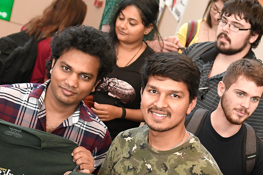 International students on campus in the forum