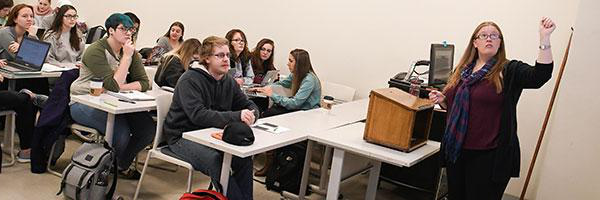 Clarkson Professor Jennifer Knack teaches a class of undergraduate students