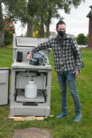 Shane Rogers tests wastewater on the Clarkson campus